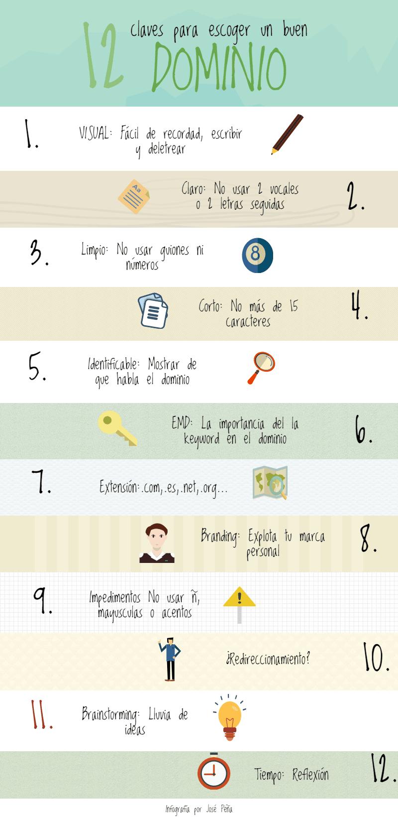 12 claves escoger un buen dominio infografía