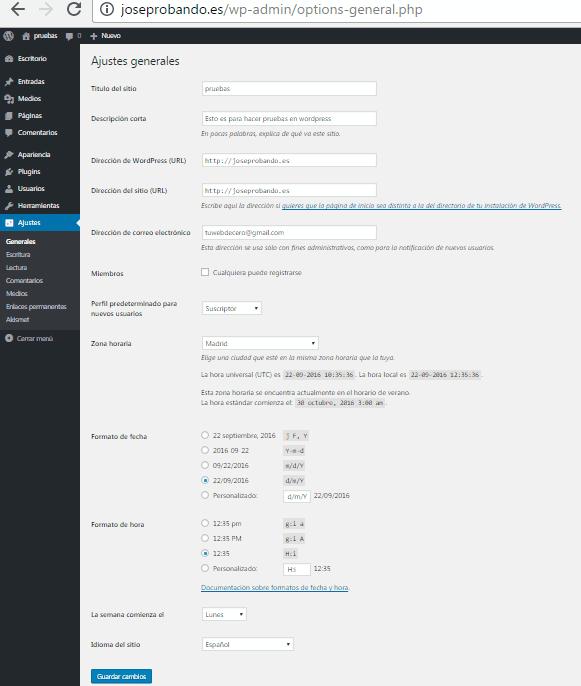 cambios generales wordpress