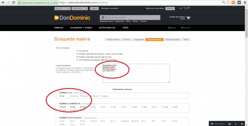 búsqueda masiva para comprar un dominio barato