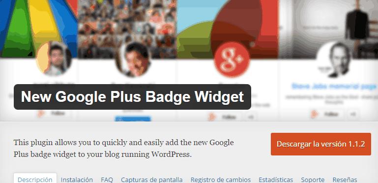 New Google plus bagde widget