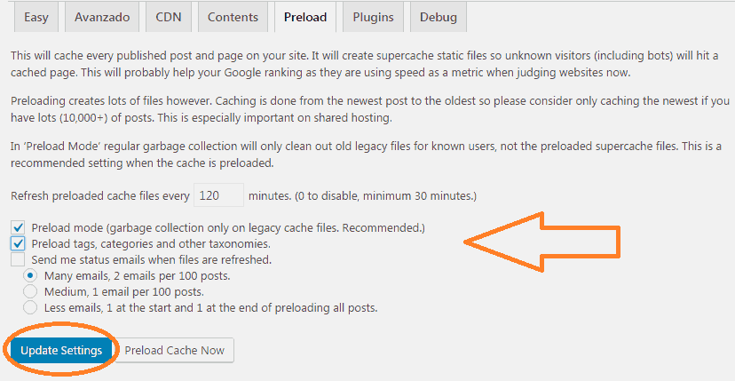 Opción de cache Preload