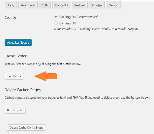 Configurar Wp supercache