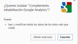Desactivar las visitas propias a Google Analytics