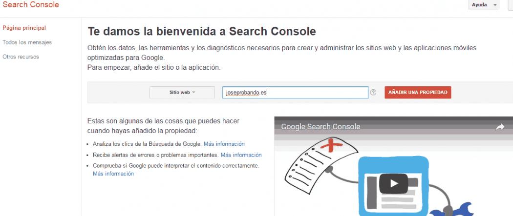 Como añadir una web a Google search console paso a paso