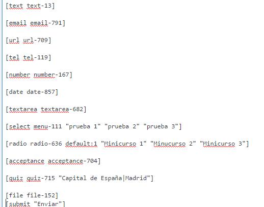 resultado formulario tras insertar codigos