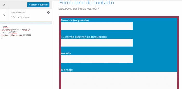 Color de fondo, color de letra y marco del formulario Contact form 7