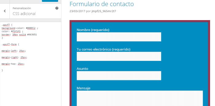 personalizacion de margenes del formulario de contacto