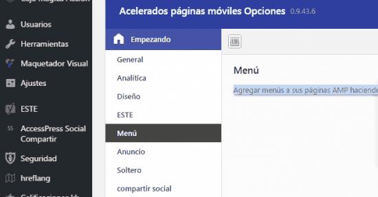 menu instalacion amp for wp