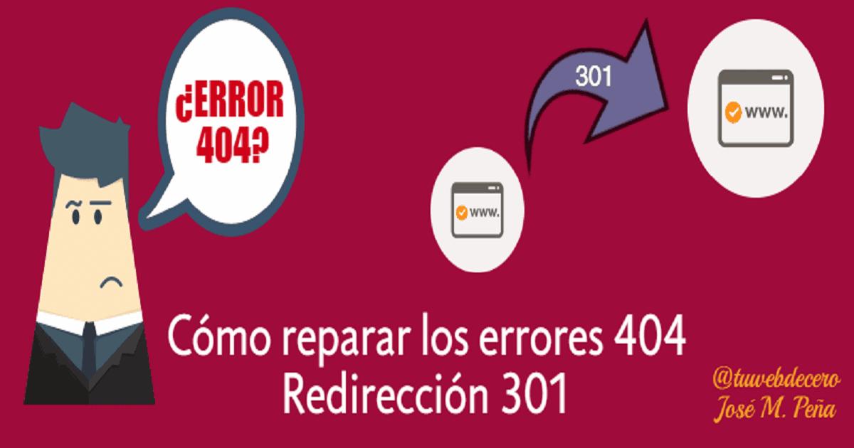Errores 404: Elimina el error de página o usa una redirección 301