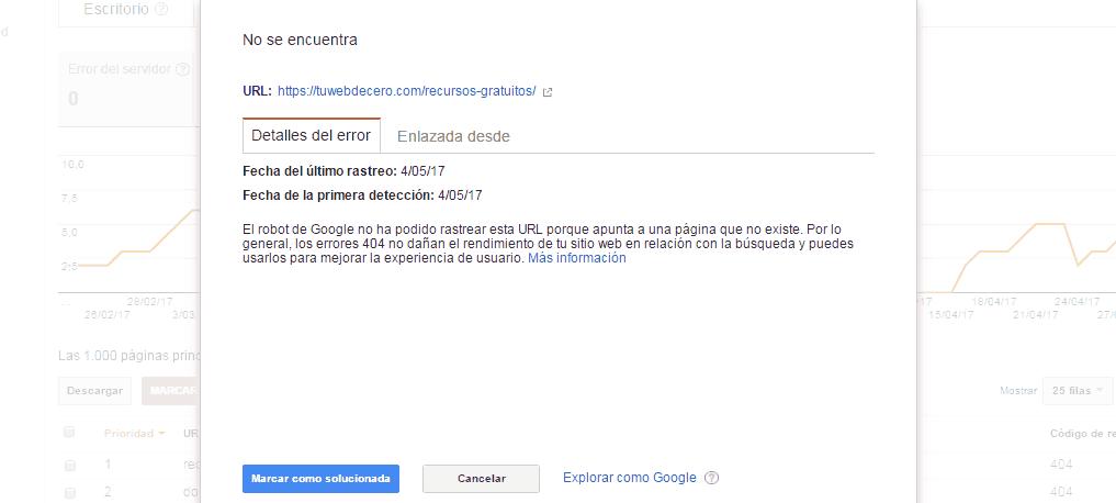 eliminación de url en google search console