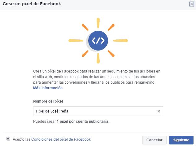 crear pixel de facebook