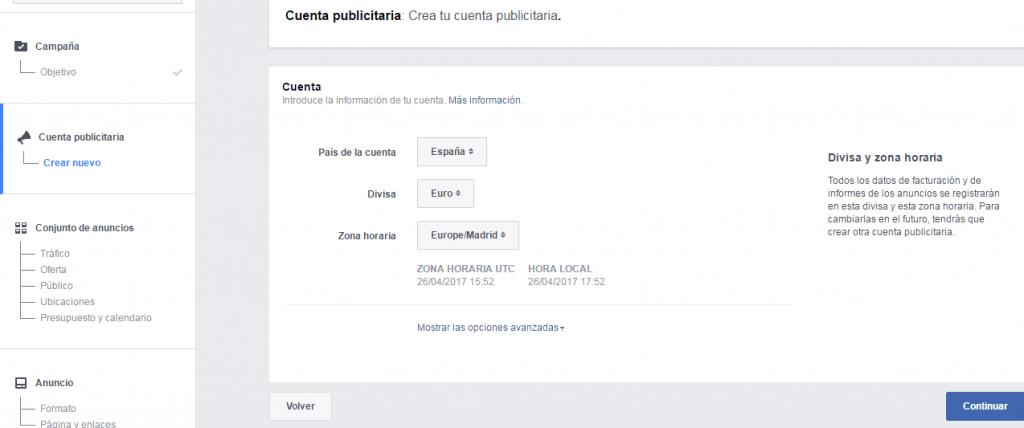 crear cuenta publicitaria en facebook ads