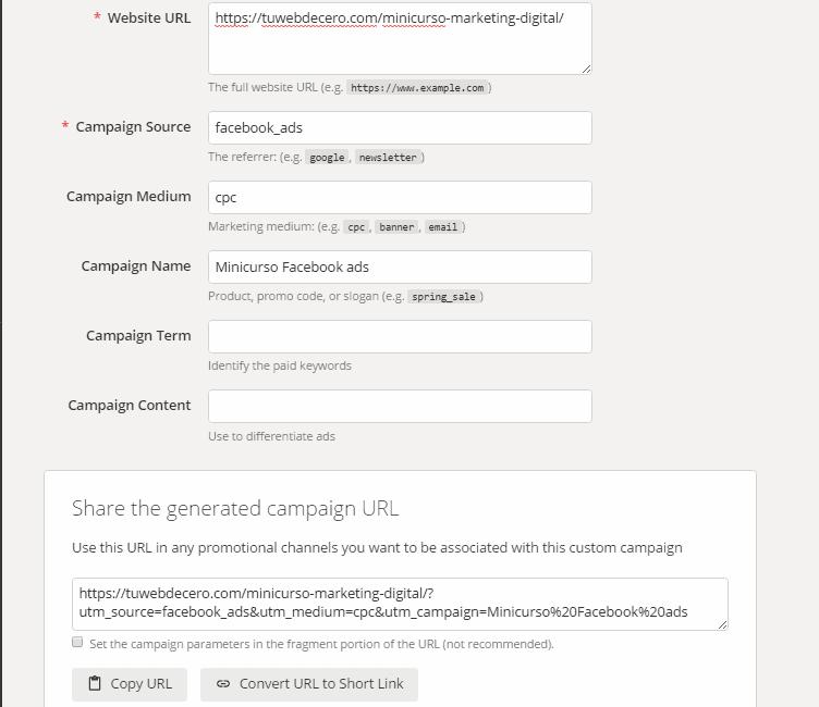url builder para crear el anuncio