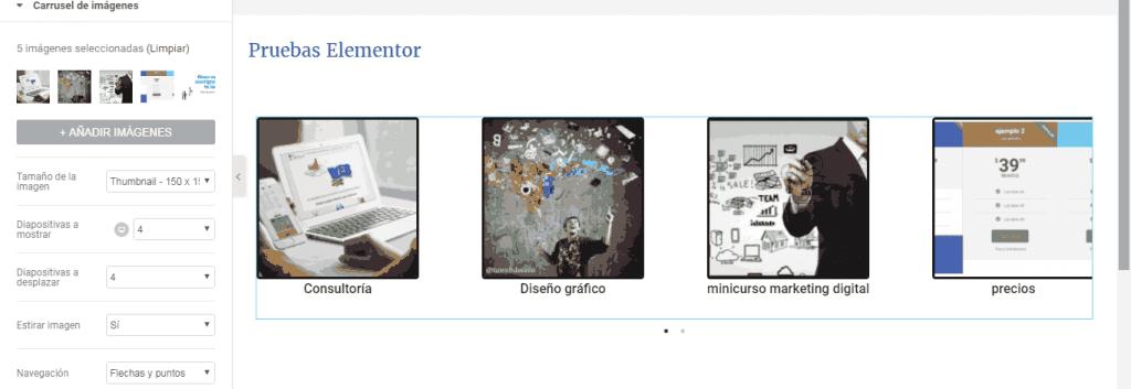carrusel de imagenes de elementor en wordpress