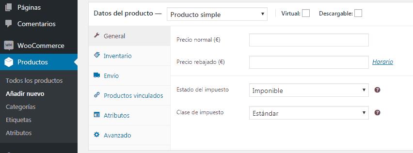 opciones de los productos