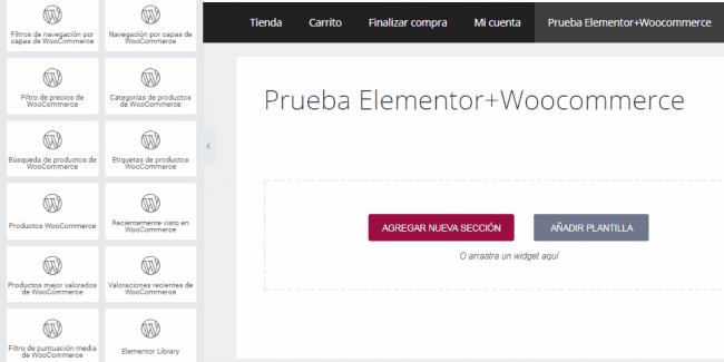 crear tienda online con elementor