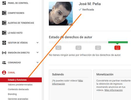 opciones del canal de youtube